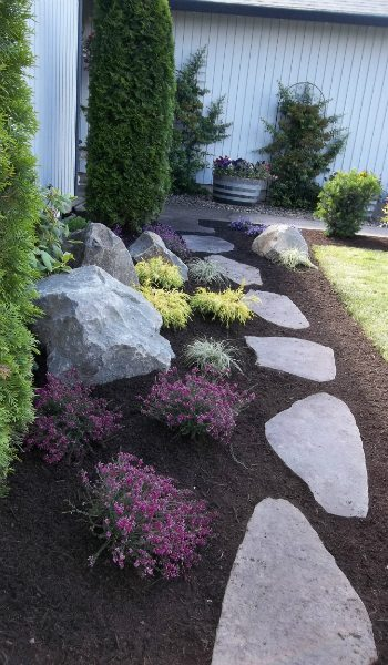 stepping-stones-boulders-plants-mulch