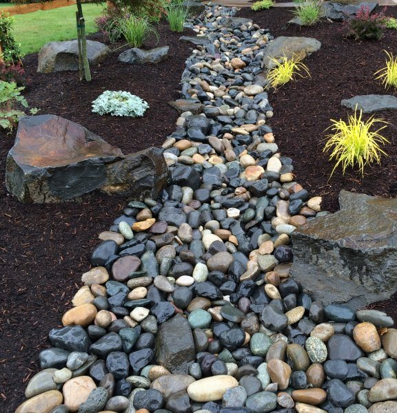 dry creek bed- design-rock-boulders-plants