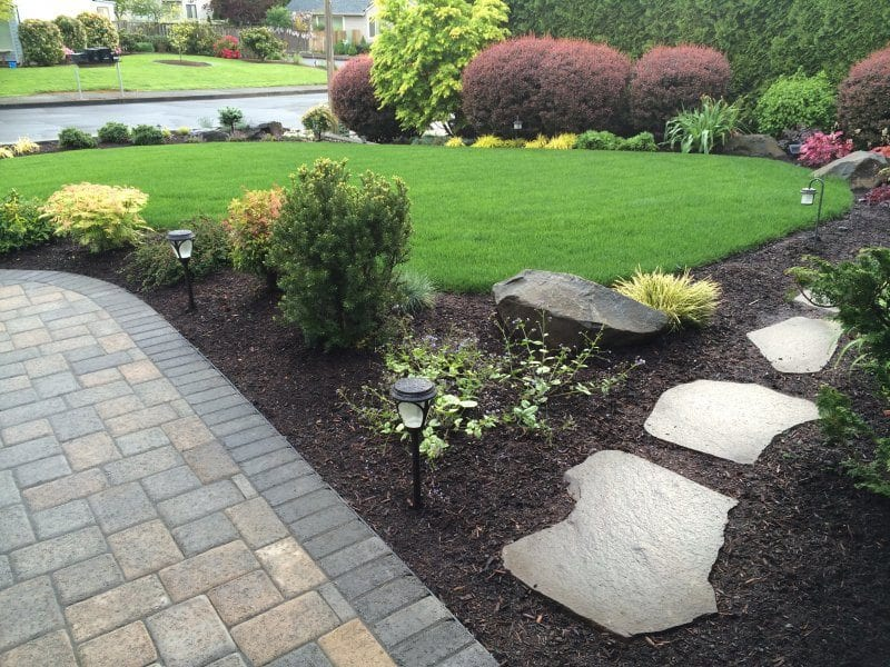 pavers-walkway-stepping stones-plants-lawn